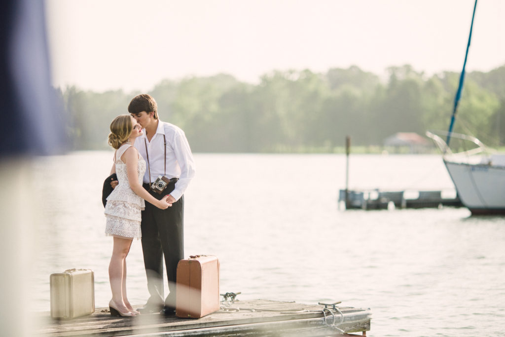 Engaged couple at Blue Springs Marina in Knoxville, Tennessee