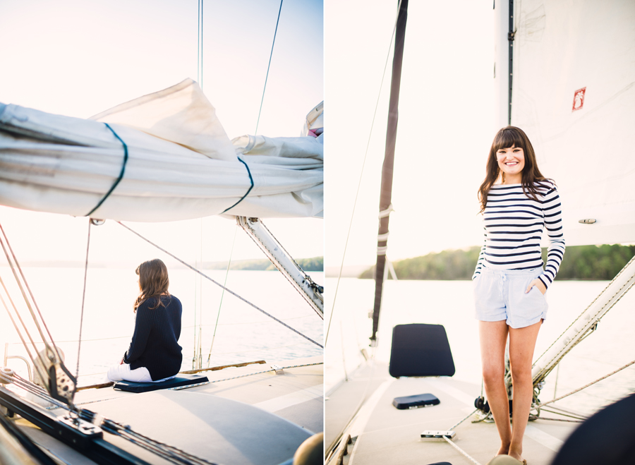 Sailboat Senior Session Red Boat Photography