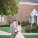 Bride and Groom at Kernersville Moravian Church