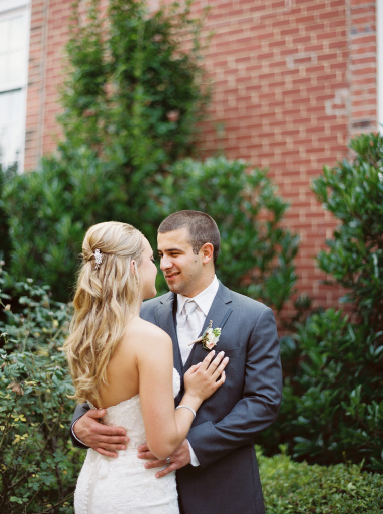 Bride and Groom at Revolution Mill Greensboro North Carolina