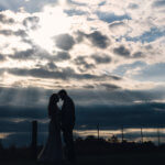 Bride and Groom at Sunset on a Farm in Tennessee