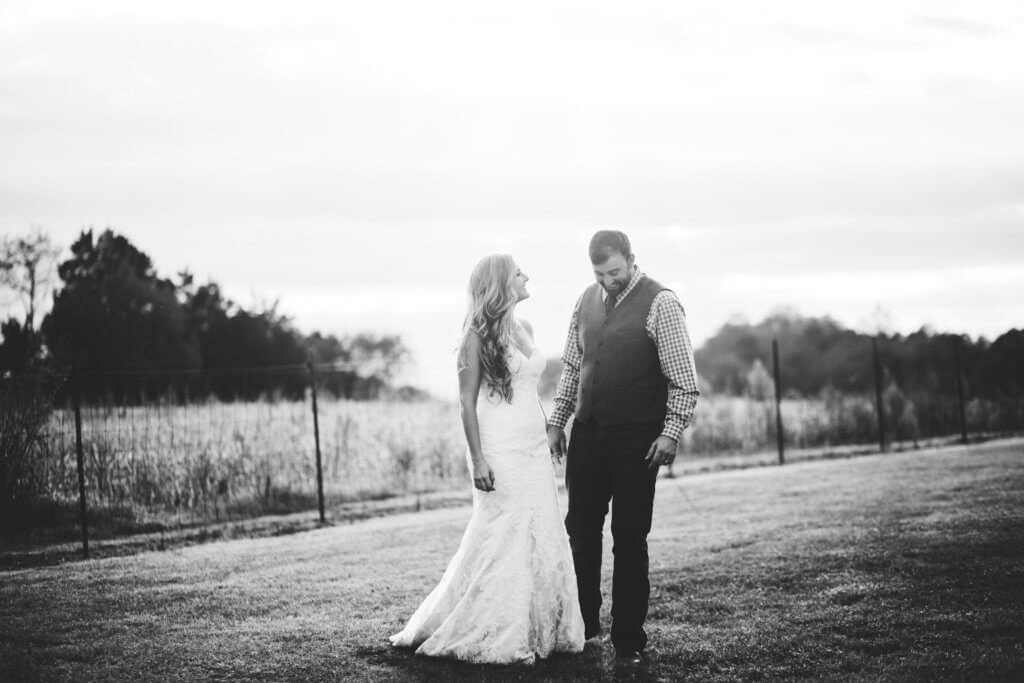 Bride and groom on a farm in Knoxville