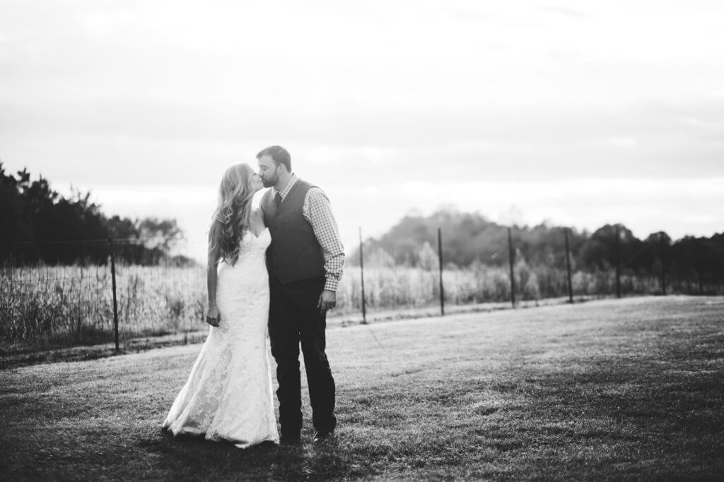 Bride and Groom on a Farm in Knoxville Tennessee