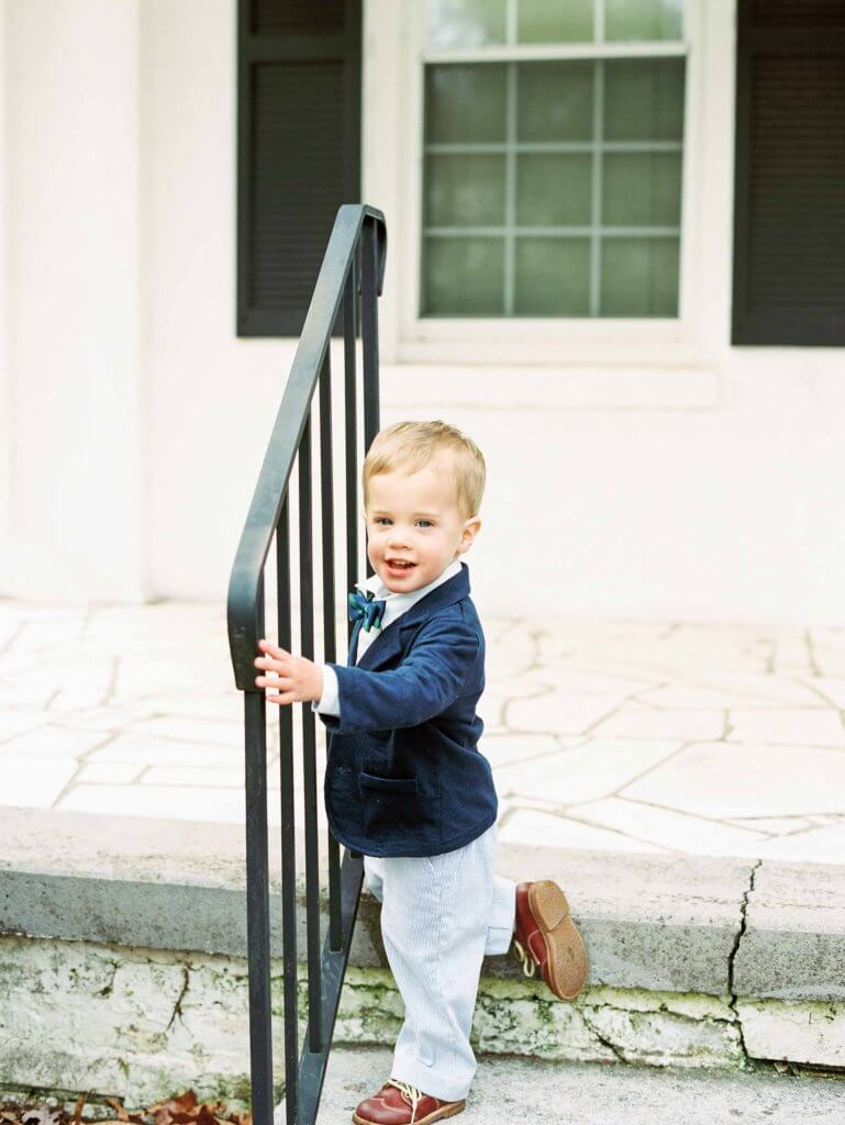 Boy on front porch