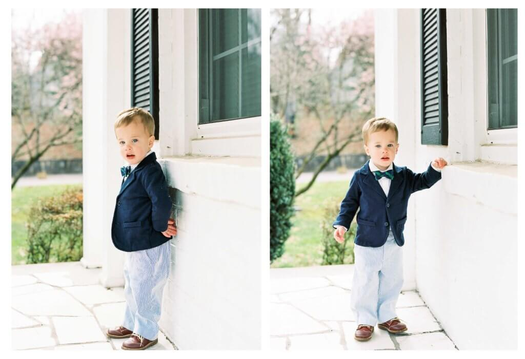 Film Image of boy on front porch of house