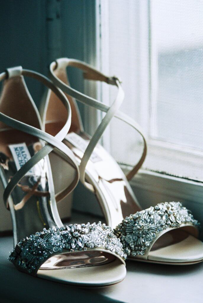 Wedding shoes at Bride at Spring House Restaurant Kitchen & Bar