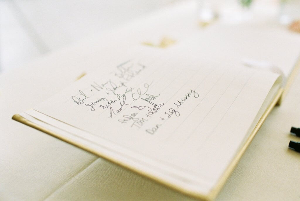 Guest book at Bride at Spring House Restaurant Kitchen & Bar
