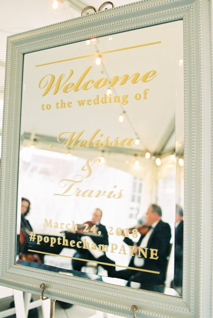 wedding sign at Bride at Spring House Restaurant Kitchen & Bar