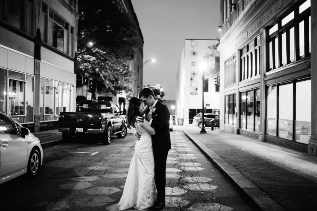 Bride and Groom in Downtown Greensboro Nc