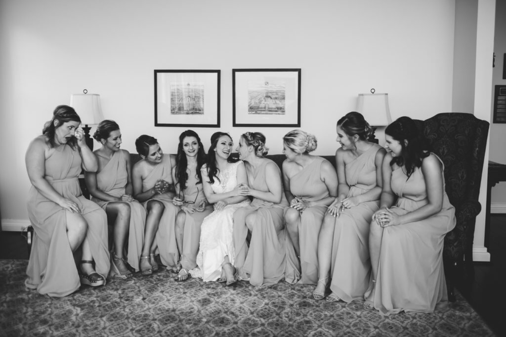 Bride & Bridesmaids at Starmount Presbyterian Church Greensboro NC