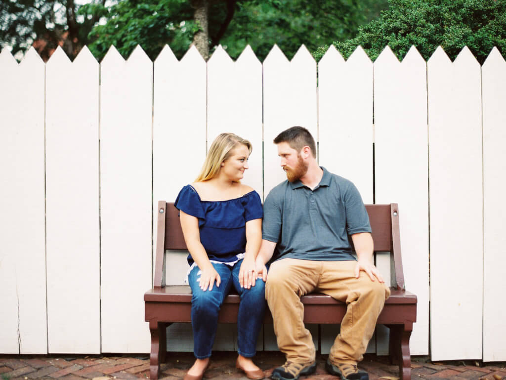 Engaged Couple at Old Salem in Winston Salem, North Carolina