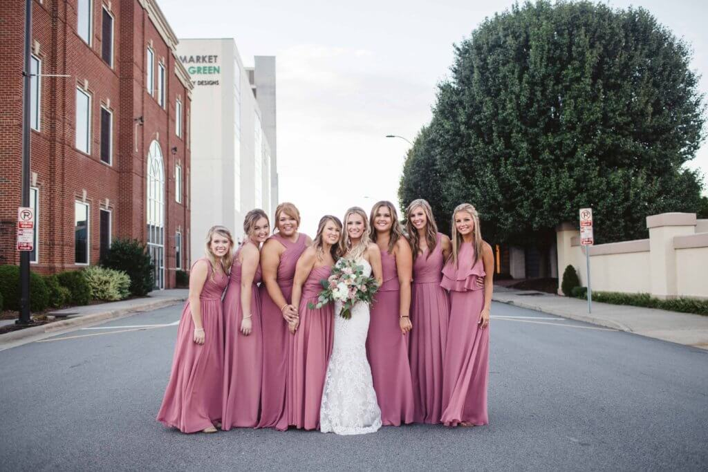 Bridal party at villa de l'amour in high point nc
