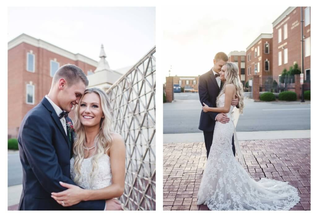 Bride and groom at villa de l'amour in high point nc
