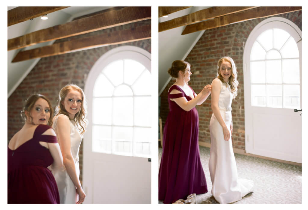 Bride and Maid of Honor at The Barn At Reynolda Village