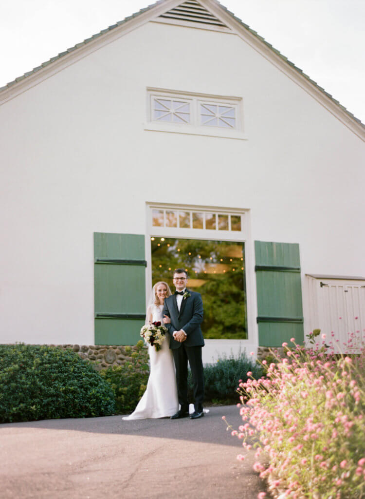 Bride and Groom at The Barn at Reynolda Village