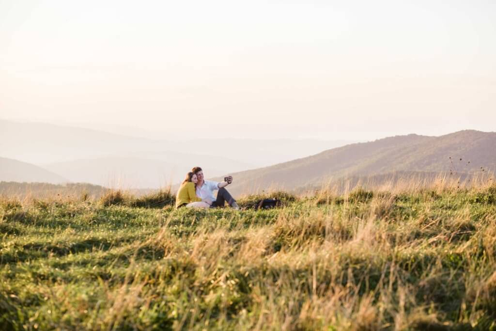 Engaged Couple on Max Patch Bald Mountain