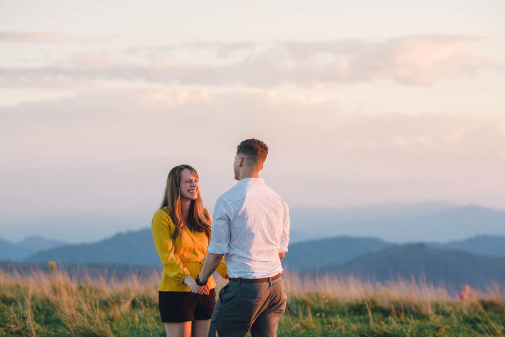 Surprise engagement on Max Patch near Asheville NC