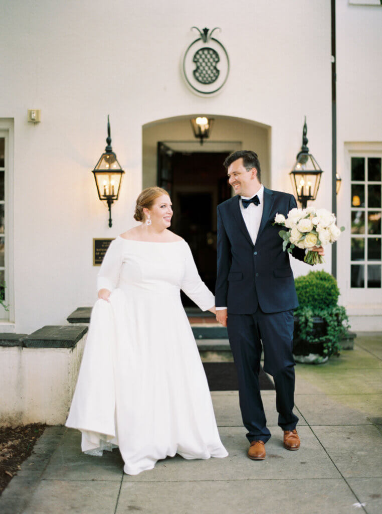 Bride and groom at Spring House Restaurant, Kitchen and Bar Winston Salem, NC